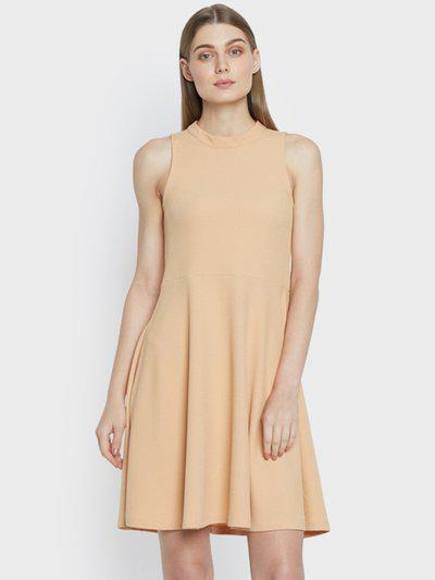 AND Women Beige Solid Fit and Flare Dress