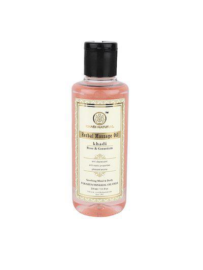 Khadi Natural Unisex Rose & Geranium Herbal Massage Oil 210 ml