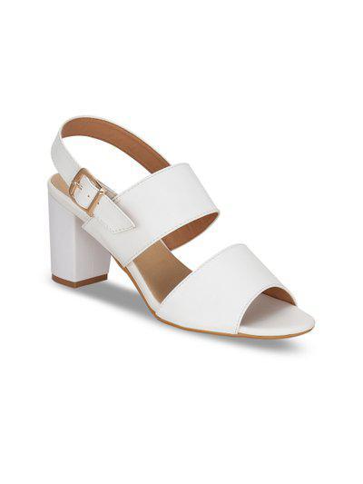 Kielz Women White Solid Sandals