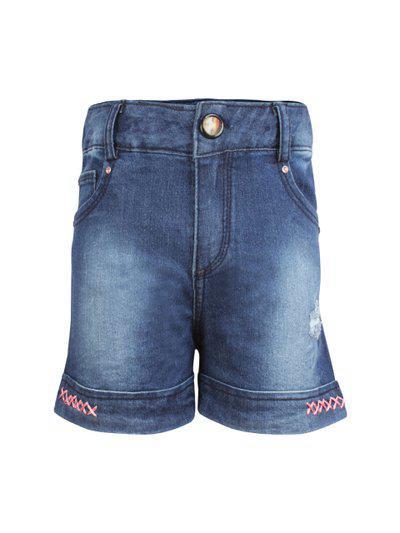 CUTECUMBER Girls Navy Blue Washed Regular Fit Denim Shorts