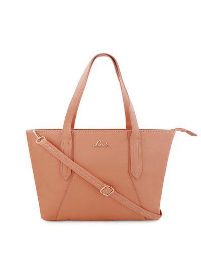Lavie Pink Solid Tote Bag