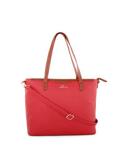 Lavie Red Solid Tote Bag