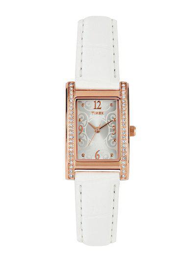 Timex Women Silver-Toned Dial Watch TW000Y701