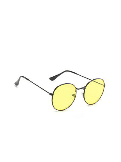 VAST Unisex Yellow Round Sunglasses 3447_C18_SEETHRU_BLK_YELLOW_NIGHT_VISION