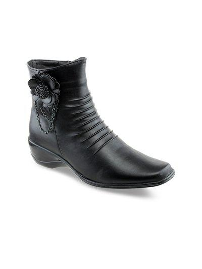 Shuz Touch Black Wedge Heeled Booties