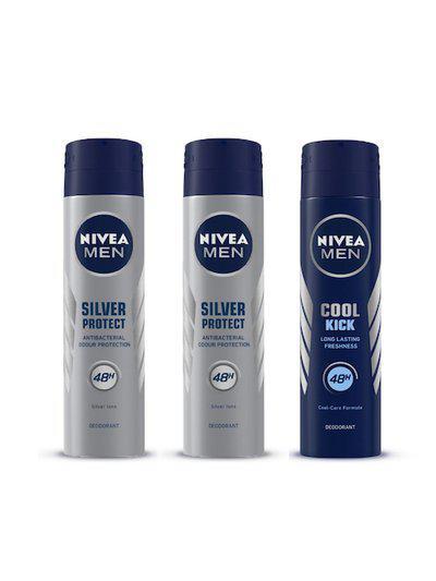 Nivea Men Set of 2 Silver Protect Deodorants & 1 Cool Kick Deodorant 150 ml each