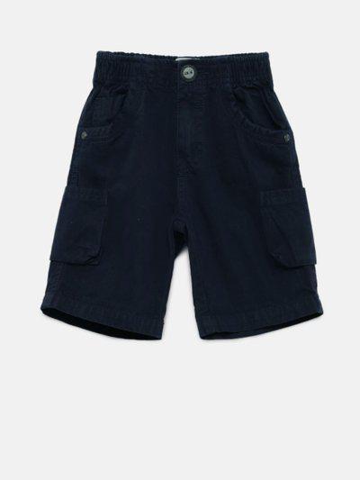 Little Kangaroos Boys Navy Blue Solid Regular Fit Cargo Shorts