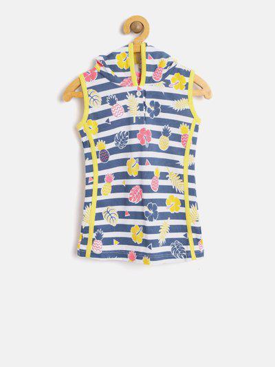 Little Kangaroos Girls Navy Blue Printed Sheath Dress