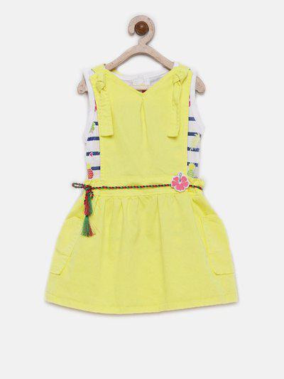 Little Kangaroos Girls Yellow Solid Pinafore Dress