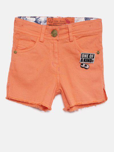 Little Kangaroos Girls Orange Denim Regular Fit Shorts