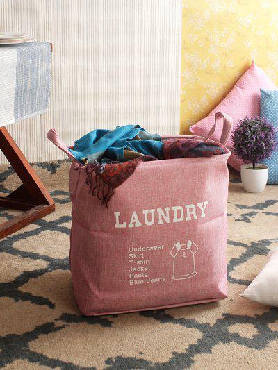 Cortina Unisex Pink Printed Foldable Laundry Bag