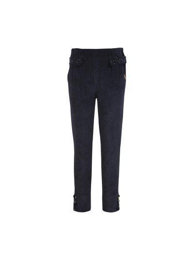 CUTECUMBER Girls Navy Blue Embellished Regular Trousers