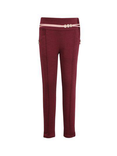 CUTECUMBER Girls Maroon Embellished Regular Trousers