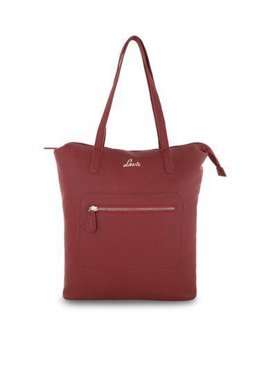 Lavie Maroon Solid Tote Bag