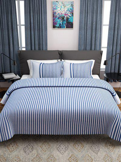 ROMEE Blue and White Striped Double Bed Cover with 2 Pillow Covers