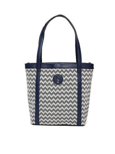 Global Desi Navy Blue & White Striped Shoulder Bag