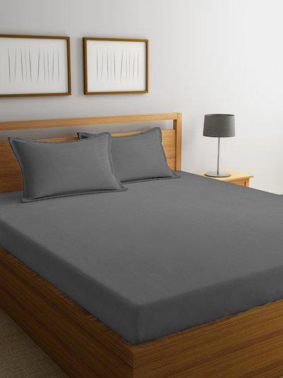 MARK HOME Grey Solid Flat 210 TC Cotton 1 Double Bedsheet with 2 Pillow Covers