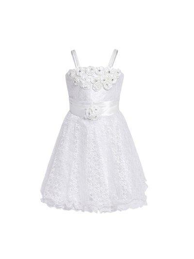 Aarika Girls White Embellished Fit and Flare Dress