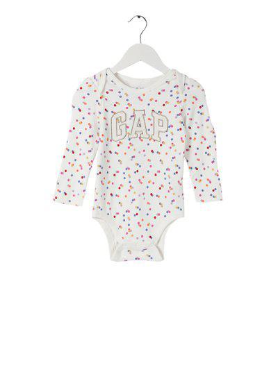 GAP Baby White Sparkle Logo Printed Bodysuit