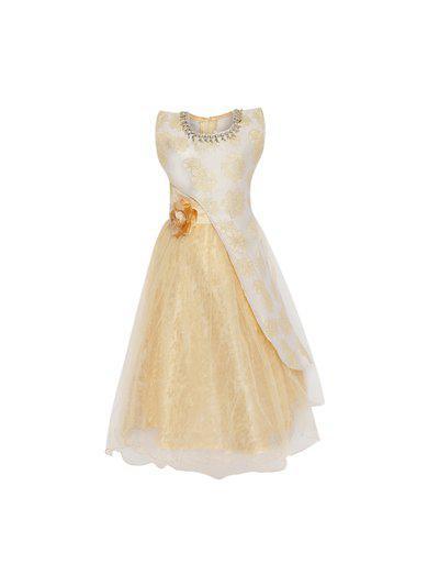 Aarika Girls Beige Printed Fit and Flare Dress