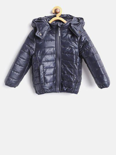 Losan Girls Navy Blue Solid Puffer Jacket with Detachable Hood