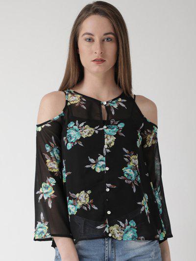 The Vanca Casual Cold Shoulder Floral Print Women Black Top