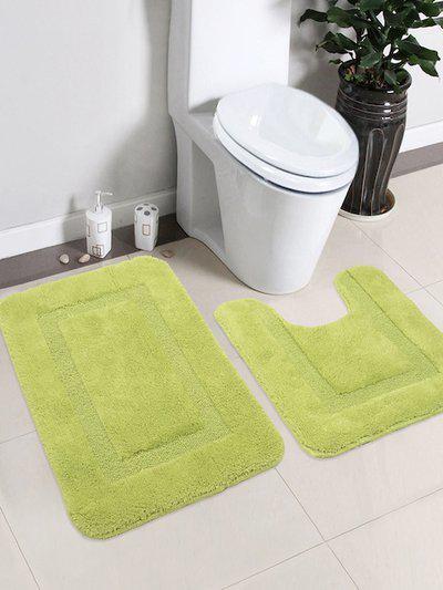 Saral Home Green Cotton Bath Rug & Contour