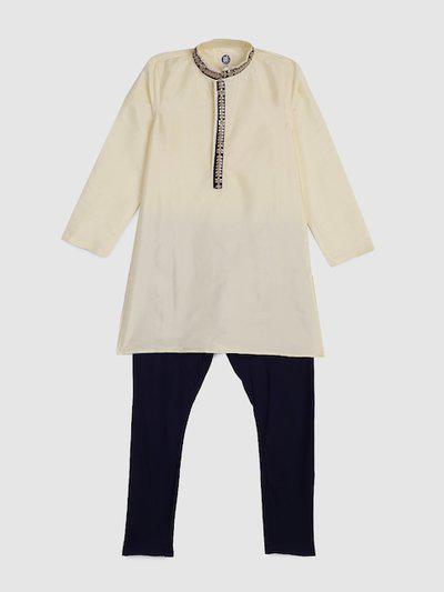 YK Boys Off-White & Navy Blue Solid Kurta with Pyjamas