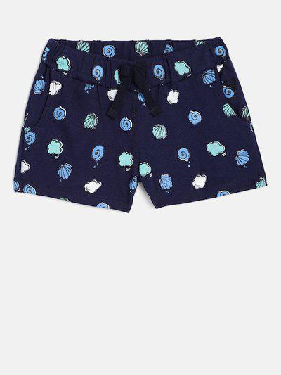 Allen Solly Junior Girls Navy Blue Printed Regular Shorts