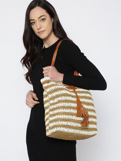 Carlton London Brown & Off-White Striped Shoulder Bag