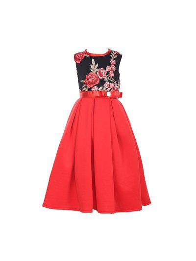 Samsara Couture Girls Red Embroidered Fit and Flare Dress