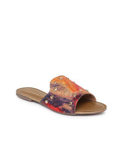 Catwalk Women Multicolored Printed Embellished Open Toe Flats