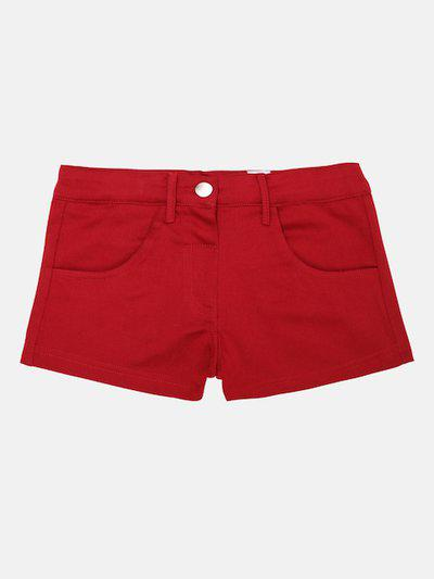 Lil Orchids Girls Maroon Solid Regular Fit Hot Pants