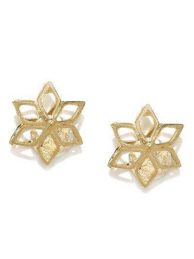 DressBerry Gold-Toned & White Oversized Stud Earrings