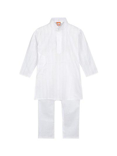KID1 Boys White Self Design Kurta with Pyjamas