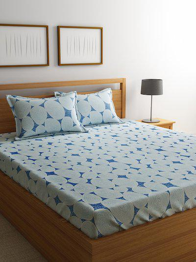 RAGO Blue Geometric 210 TC Cotton 1 Queen Bedsheet with 2 Pillow Covers