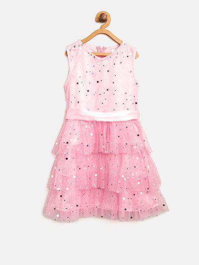 StyleStone Girls Pink Embellished Layered Fit & Flare Dress