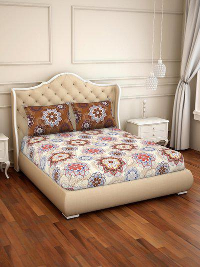 CORE Designed by SPACES Beige and Brown Floral 144 TC Cotton 1 Queen Bedsheet with 2 Pillow Covers