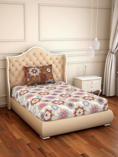 CORE Designed by SPACES Beige and Brown 144 TC Cotton 1 Single Bedsheet with 1 Pillow Cover
