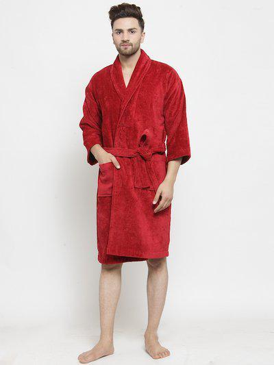Trident Unisex Red Solid Bath Robe