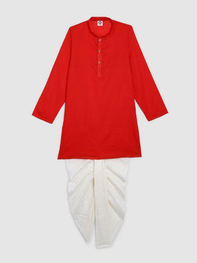 YK Boys Red & White Solid Kurta with Dhoti Pants