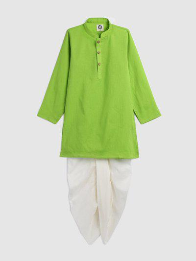 YK Boys Green & White Solid Kurta with Dhoti Pants