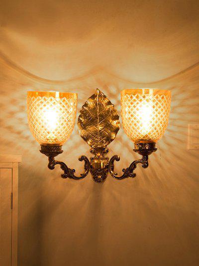 Fos Lighting Elegant Golden Betel Leaf Aluminium 2 Light Wall Sonce