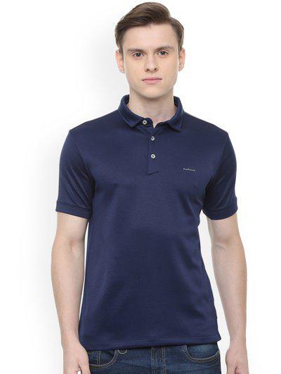 Van Heusen Men Navy Blue Solid Polo Collar T-shirt