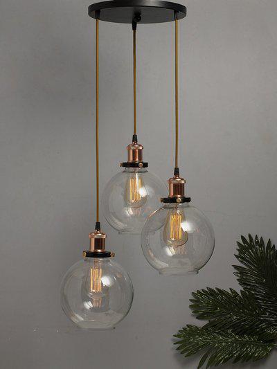 Homesake Transparent Solid Handcrafted 3-Lights Cluster Glass Hanging Chandelier
