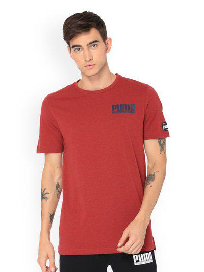Puma Men Red Printed Round Neck STYLE Athletics T-shirt