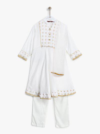 Sangria Girls White & Golden Yoke Design Kurta with Trousers & Dupatta