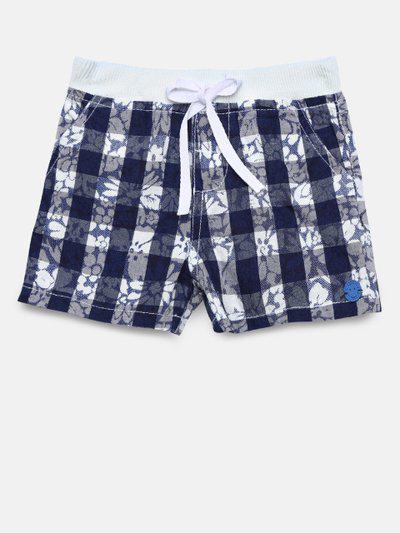 UFO Boys Navy Blue & White Checked Shorts