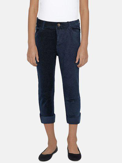 UFO Girls Navy Blue Regular Fit Self Design Trousers