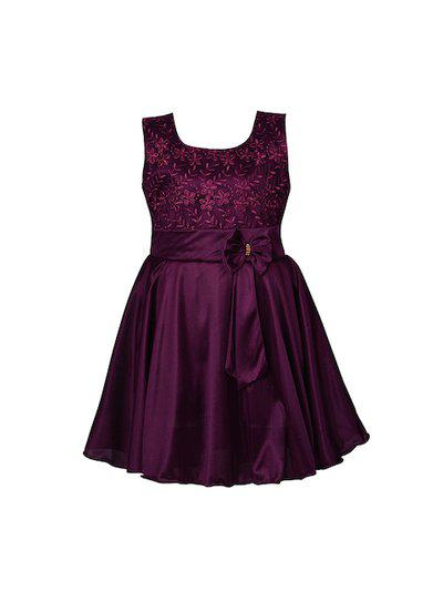 Wish Karo Girls Burgundy Embroidered Fit and Flare Dress